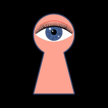Keyhole and prying eye. Mysterious closed door lock. Curious man looks through keyhole. Confidential, private information concept. Vector illustration