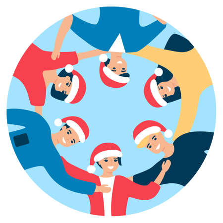 Group of happy people in Santa hat are standing in circle and hugging. Men and women welcoming holiday Christmas together. Congratulation friends, corporate event. Christmas communication. Vector  イラスト・ベクター素材
