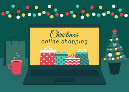 Christmas online shopping. Laptop screen with gift boxes. Buy gifts online via Internet. Winter holidays sales. Vector illustration