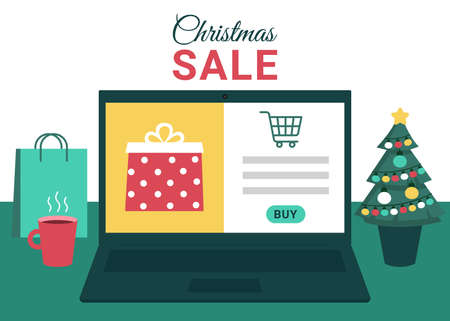 Christmas online shopping, sale. Laptop screen with gift boxes. Buy gifts online via Internet. Winter holidays sales. Vector illustration  イラスト・ベクター素材