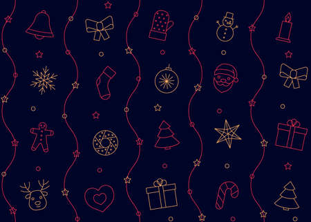 Christmas and New Year pattern line icons on dark blue background. Seamless wallpaper. Greeting happy chrismas. Vector illustration