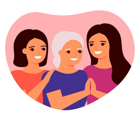 Senior mother and adult daughters are hugging. Family love, taking care of granny. Family generation, grandmother, mother and daughter. Mother s day concept. Family understanding, support. Vector flat
