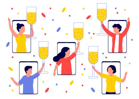 Group of people celebrate, welcoming holiday with wineglasses in hands distance in smartphones. Congratulations on Christmas, New Year, event or birthday. Happy men and women drink champagne. Vector  イラスト・ベクター素材