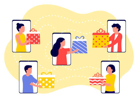 Distance online communication of people and give gifts for holiday. Group of people celebrate, welcoming holiday. Congratulations on Christmas, New Year, event or birthday. Vector illustration