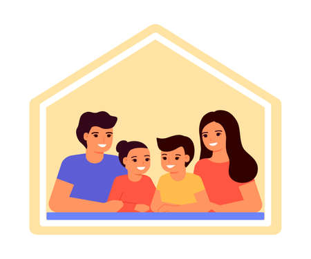Happy family together at home. Mother, father, son and daughter are safe. Stay at home. Communication between parents and children. Vector flat illustration  イラスト・ベクター素材