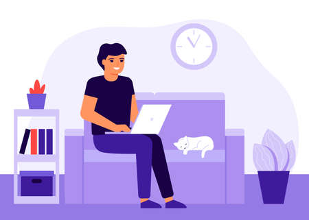 Young happy man work home sitting an couch with laptop. Fun male online remote work, study, learn course, communication. Workflow, workspace. Freelancer man is employed home. Vector illustration  イラスト・ベクター素材