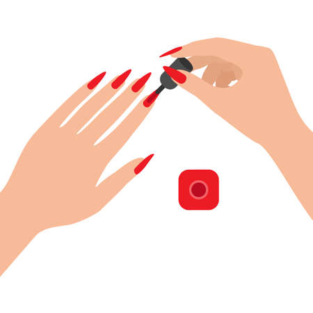 Long nails covered with varnish, top view. Woman paints her nails with red varnish. Home hand care. Vector  イラスト・ベクター素材