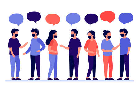 Meeting of group of people with mask for communication, partnership, business relationship. Man and woman talking. Negotiations, discussion of team workers. Vector flat illustration