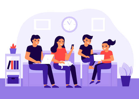 Happy family spends time together at home using digital devices. Social media addiction, communication problem. Parents and children sit on couch together at home. Vector illustration