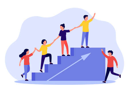 Business support and help group people, partnership concept. Climbing stairs together. Business team working for success and growing. Symbol of teamwork, cooperation. Vector illustration