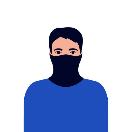 Young man with neck gaiter, face mask. Protection versus viruses and infection. Respiratory mask for safe, health care. Vector illustration  イラスト・ベクター素材