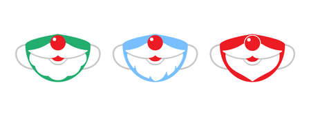 Protection individual masks mouth, moustage and beard of santa claus. Face masks for Christmas, New Year. Vector illustration
