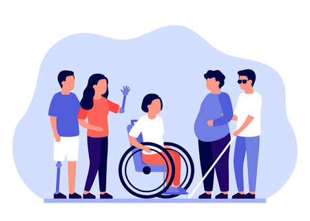 Group of people with disabilities in need of support and assistance. Prosthetic legs, arms, wheelchair access, obesity and diabetes, blindness. Vector illustration