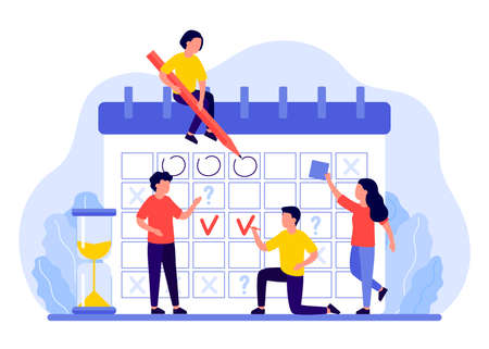 Schedule, calendar, planner concept. Group of people plans, marks dates, deadlines. Business team organizes workflow. Vector illustration