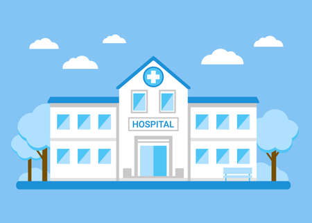 Hospital building exterior for treatment. Medical institution, clinic. House of Disease Care. Vector flat illustration Vector Illustratie
