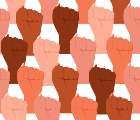 Group multicultural people raised fist in seamless pattern