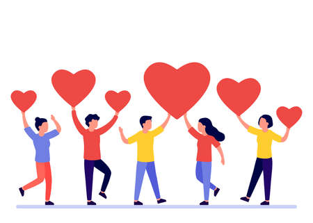 Group of people is holding red heart shape. Men and women give feedback, support, help, love. Good review, like. Valentine s Day concept. Vector illustration