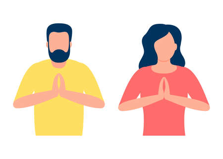 People in pose yoga, hands namaste. Man and woman do meditation for benefits health of body, mind and emotions. Soulful wellbeing and calm. Gesture welcome, greeting, please, thank. Vector