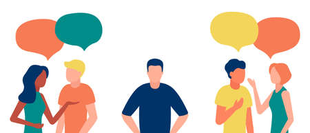 Group of people communicates, ignoring introverted man. Loneliness, ignorance, discrimination, indifference to teammate. Isolation, rejection of people in society. Vector