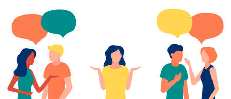 Group of people communicates, ignoring introverted woman, outcast. Loneliness, ignorance, discrimination, indifference to teammate. Isolation, rejection of people in society. Vector illustration
