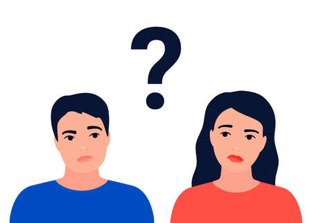 Couple of man and woman having question. Male and female characters in thoughtful pose and question mark. Family ask, need help. Faq concept. Quarrel, doubts, crisis in relationship. Vector flat