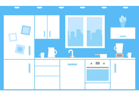 Interior of white kitchen at home with appliances and furniture. Kitchen wall with window, stove, cupboard, fridge and cooking area. Vector flat illustration