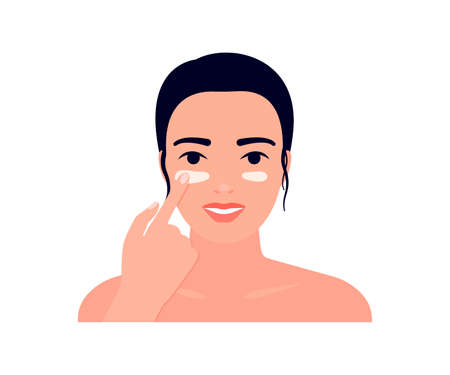 Beautiful young woman apply face cream. Skin care routine, procedure protect skin. Hand cosmetis massage face. Spa beauty concept. Vector