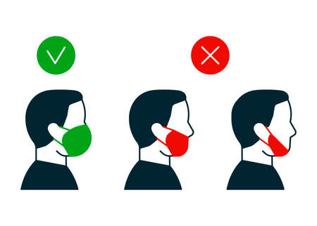 Right and wrong way to wear face mask, profile man icon. Correct and mistakes use wearing mask. Face mask for protection safe health. Vector Ilustración de vector
