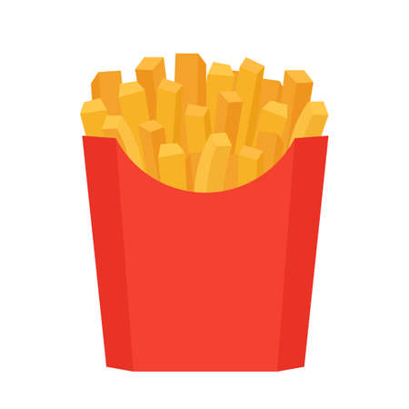 Fastfood fry potato in red Box. French, fried meal in package. Unhealthy fries meal. Vector isolated illustration