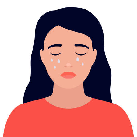 Sad young woman cry and is stressed, face with tears. Girl suffering from depression, despair, upset. Vector illustration on white isolated background