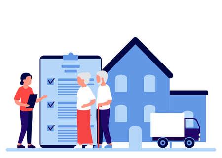 Property insurance people senior retirement, testament signing, appraisal estate. Financial advisor and lawyer services concept. Retirement estate, inheritance planning. Vector