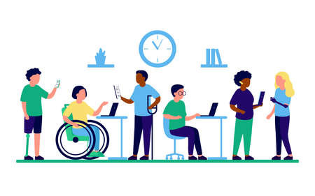 Employee people with disabilities and inclusion work together in office. Disabled different people on wheelchair and with prothesis sit and communicate using laptop. Handicap persons work. Vector flat
