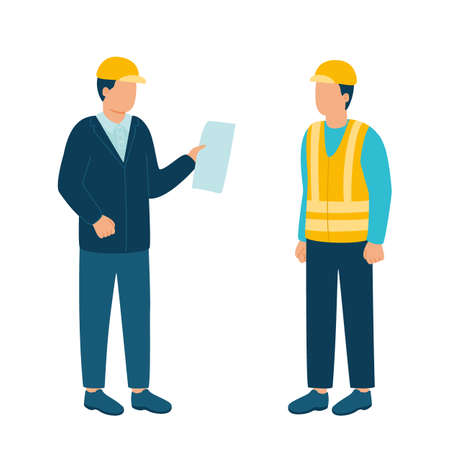 Worker contractor, builder communicate with build industry leader, architect, boss in helmet. Construction workers and engineers working architecture and real estate. Contact on building. Vector