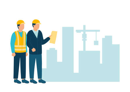 Worker contractor, builder communicate with build industry architect in helmet discuss new project. Construction workers and engineers working architecture and real estate. Contact on building. Vector