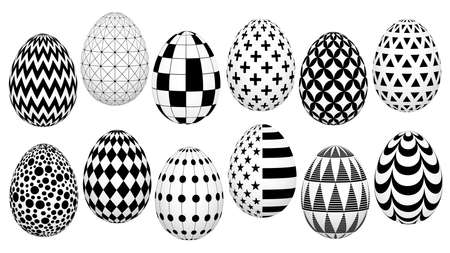 Stylish set of Easter eggs with geometric pattern for background, design, advertisement, packing, screensaver, ideas. vector sketch Illustration