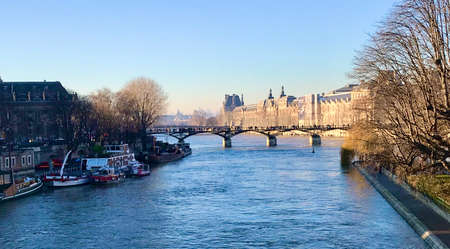 beautiful panoramic view of the river seine in paris france 写真素材