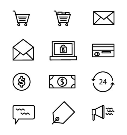 e-commerce Icons Vector set - Black Illustration