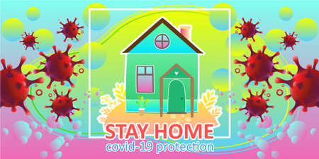 Digital Vector illustration information stay home of Coronavirus covid-19 protection using as background healthcare and medical