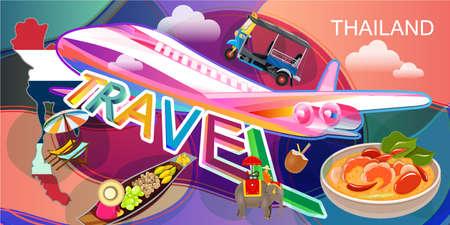 Vector illustration of Thailand travel landmarks using as business brochure advertising