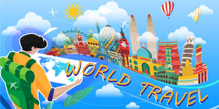 Vector illustration of backpacker with world map using as business brochure trip traveler adviser agency Ilustração