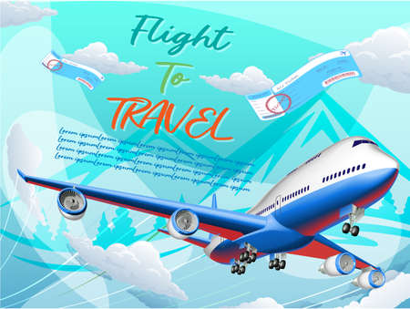 Vector illustration of flight to travel with airplane using as business brochure advertising