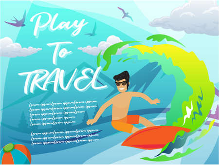 Vector illustration of play  to travel with surfing using as business brochure advertising Ilustração