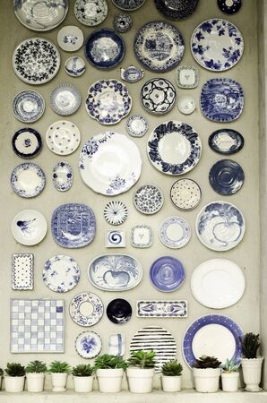 many plates on the wall