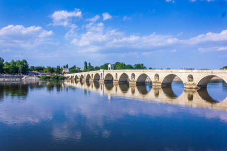 Meric River and the bridge in Edirne, Turkey Reklamní fotografie