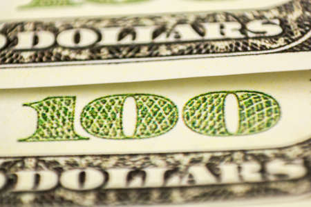 Macro close up of the US dollar bill. Foto de archivo