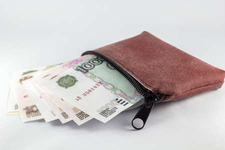 ruble banknotes, essential wallet with white background