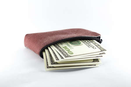 dollar banknotes, essential wallet with white background Stok Fotoğraf