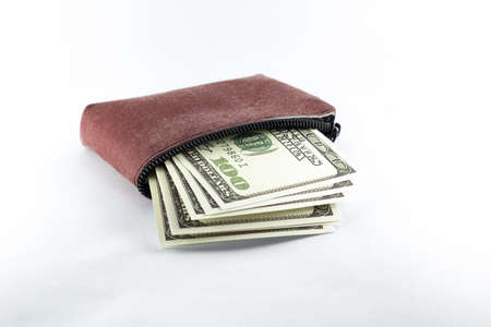 Dollar bills in a leather bag on a white background.