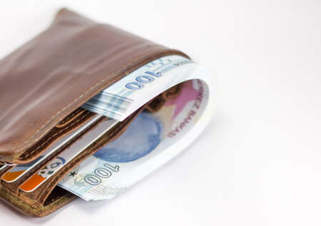 Turkish lira banknote in wallet isolated