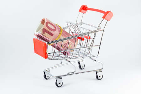 rolled euro on market cart
